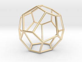 Fullerene with 16 faces, no. 2 in 14k Gold Plated Brass