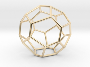 Fullerene with 17 faces, no. 2 in 14k Gold Plated Brass