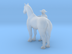 O Scale Man and Horse in Smooth Fine Detail Plastic