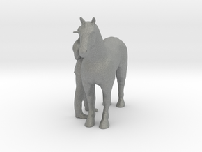 HO Scale Man and Horse in Gray Professional Plastic