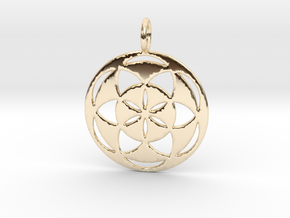 Seed of Life filled 29mm in 14k Gold Plated Brass