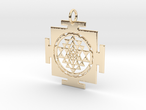 Sri Yantra in traditional setting 40mm in 14k Gold Plated Brass