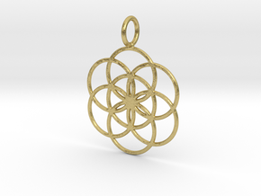 Seed of Life 27mm 33mm 45mm in Natural Brass: Small