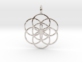 Seed of Life 33mm in Rhodium Plated Brass