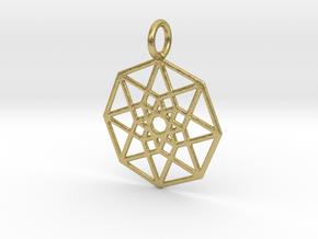 2D Hypercube 29mm in Natural Brass