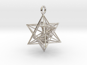 Angel Starship Stellated Dodecahedron w window 30m in Rhodium Plated Brass