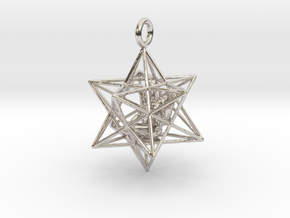 Angel Starship Stellated Dodecahedron 30m in Rhodium Plated Brass