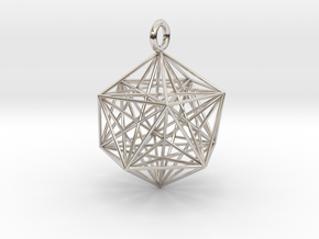 Icosahedron with inner Stellated Dodecahedron 30mm in Rhodium Plated Brass