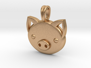 Piggy Head Charm Animal Jewelry Pendant in Natural Bronze