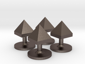Set of 4 Pyramid Shirt Studs in Polished Bronzed-Silver Steel