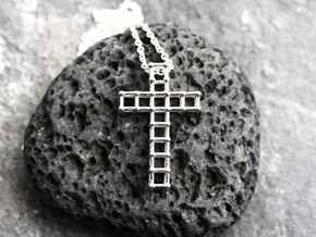 Molecular Cross Pendant - Christian Jewelry in Polished Silver