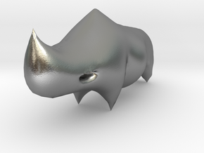 Rhino Sculplture in Natural Silver: 15mm