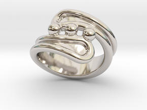 Threebubblesring 14 - Italian Size 14 in Rhodium Plated Brass