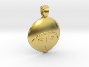 Afro mask [pendant] in Polished Brass