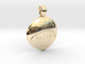 Afro mask [pendant] in 14k Gold Plated Brass