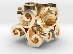 Triskell Cube With Rope Ring in 14k Gold Plated Brass