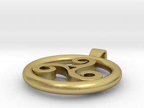 Triskell Positve Hole Pendant in Natural Brass