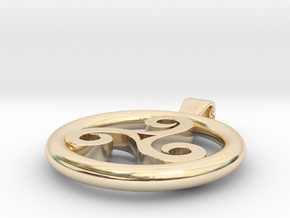 Triskell Positve Hole Pendant in 14K Yellow Gold