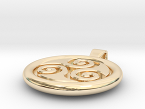 Big Triskell Negative Engrave Pendant in 14k Gold Plated Brass