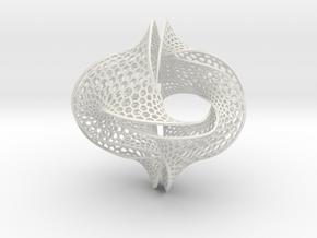 Borromean honeycomb moebius small in White Premium Versatile Plastic