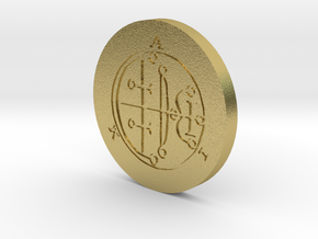 Aim Coin in Natural Brass