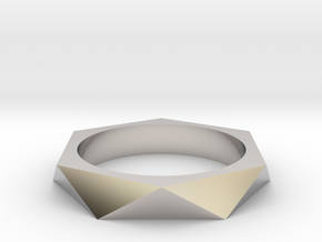 Shifted Hexagon 14.05mm in Rhodium Plated Brass