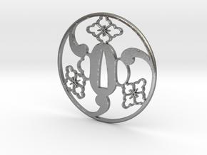 Tsuba mitsudomoe  7.5 x 7.5 x 0.35 cm in Natural Silver