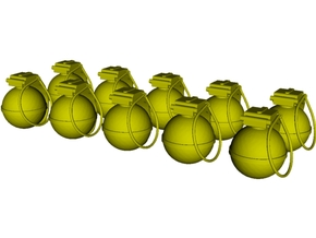 1/20 scale V-40 mini fragmentation grenades x 10 in Smooth Fine Detail Plastic