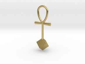 Cube energy pendant in Natural Brass
