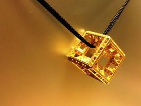 Fractal Hypercube Pendant in Polished Gold Steel