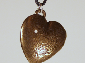 Exit Wound Heart Pendant in Polished Bronze Steel