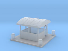 Guard Shack with curved roof and concrete barriers in Smoothest Fine Detail Plastic