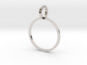 Charm Ring 15.70mm in Rhodium Plated Brass
