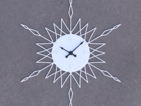 Sunburst Clock - Anya in White Natural Versatile Plastic