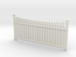 Dollhouse Plain Picket Fence in White Natural Versatile Plastic: 1:12