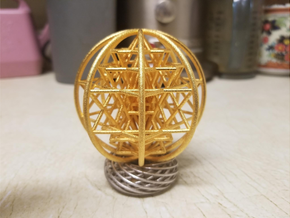 "3D Sri Yantra 8 Sided Symmetrical 3"" in Polished Gold Steel"