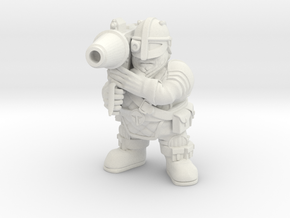 Space Dwarf Missle-launcher in White Natural Versatile Plastic