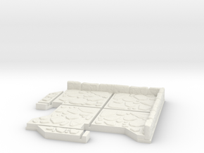 Small Corner Dungeon Tile in White Natural Versatile Plastic