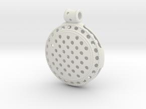 Round Vintage Pendant in White Natural Versatile Plastic