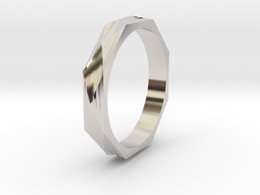 Facet 19.41mm in Rhodium Plated Brass