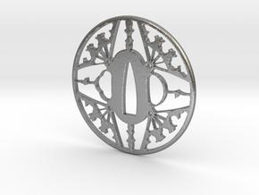 Tsuba-fans-print in Natural Silver