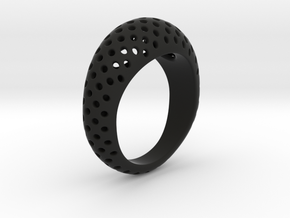Round Pattern Ring   in Black Natural Versatile Plastic