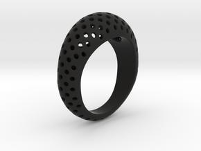 Round Pattern Ring   in Black Natural Versatile Plastic