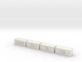 Quad 33 Filter Buttons in White Natural Versatile Plastic