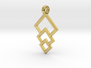 Geometric Triple Square Pendant in Polished Brass