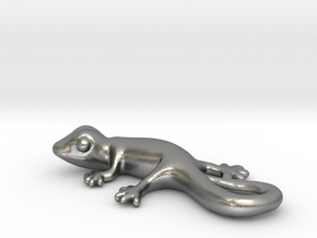 Cute Gecko Keychain in Natural Silver