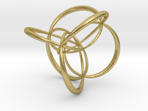 16-cell, stereographic projection 2, thick edges in Natural Brass