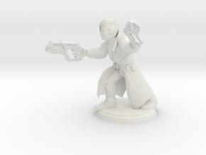 Cyberpunk Gunslinger (28mm Scale Miniature) in White Natural Versatile Plastic