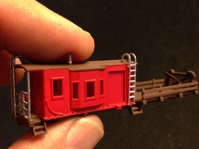 Bay Window Caboose MOW Flat Car in Frosted Ultra Detail