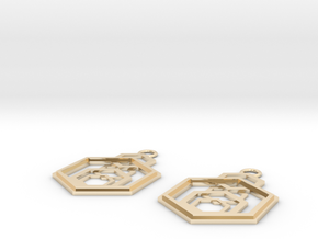 Geometrical earrings no.9 in 14k Gold Plated Brass: Small
